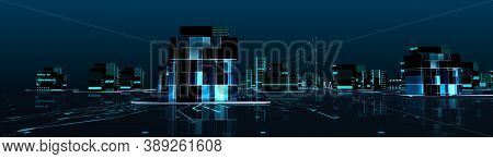 3d Render Futuristic City Neon Light Scene. Cityscape Tron Light Glow Future City And Technology Pan