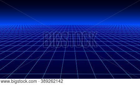 Vector Perspective Grid In Blue Retro Style. Detailed Lines On Blue Background.