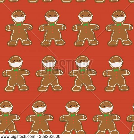 Christmas 2020 Covid Seamless Pattern. Social Distancing Gingerbread Men Wearing A Face Mask Repeati