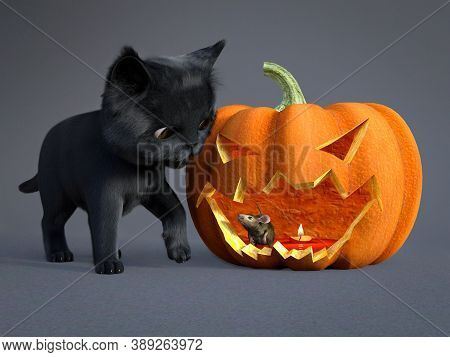 3d Rendering Of A Cute Black Cat And A Mouse Sitting Inside An Orange Colored Halloween Carved Pumpk