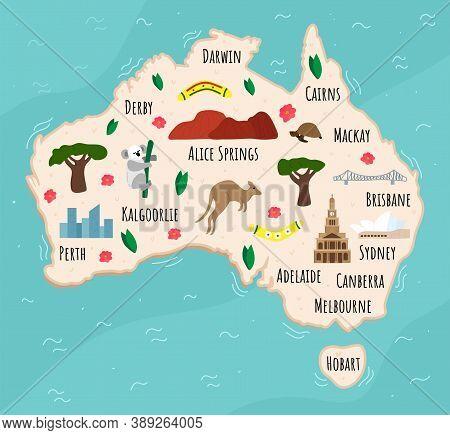 Cartoon Map Of Australia. Travel Illustration With Australian Landmarks, Buildings, Food And Plants.