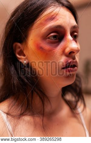 Woman In Pain After Being Abused And Traumatised By Terrifying Lover. Violent Aggressive Husband Abu