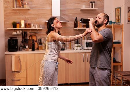 Traumatised Wife Furious On Violent Husband During Home At Night After Being Abused. Violent Aggress