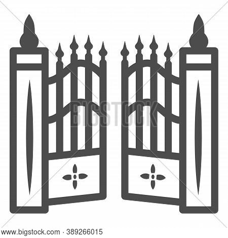 Gate To Cemetery Line Icon, Halloween Concept, Cemetery Sign On White Background, Graveyard Fence Ic
