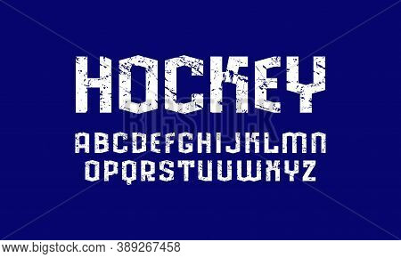 Sans Serif Font In Sport Style. Letters With Rough Texture For Logo And Emblem Design. White Print O
