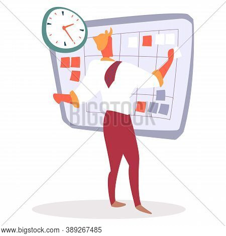 Manager Working With Workflow Planning Vector. Flat Style Character With Calendar And Stickers. Memo