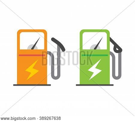 Electric Vehicle Charging Station Icon Vector, Electricity Energy Power Fuel Car Refill Pump Sign Sy