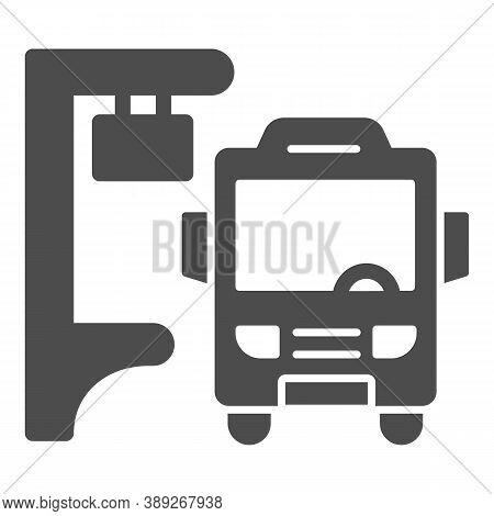 Bus Stop Solid Icon, Public Transport Concept, Silhouette Of Bus At Stop Sign On White Background, B