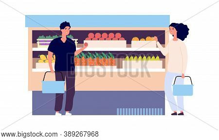 Vegan Store. Man Woman Choose Fruits. Flat Style Grocery Shop With Customers. Fresh Food, Raw Ingred