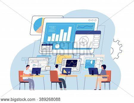 Visual Statistics. Data Visualization, Creative Office People And Dashboard. Business Technology, Wo