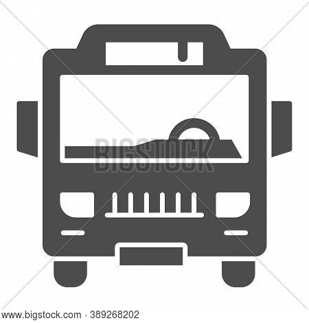 Shuttle Bus Solid Icon, Public Transport Concept, Autobus Sign On White Background, Bus Icon In Glyp