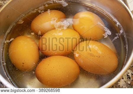 Hard-boiled Eggs During The Cooking In Boiling Water