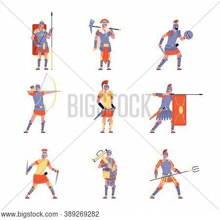 Roman Army. Ancient Rome, War Battle Legion Warrior. Isolated Cartoon Antique People In Helmet Costu