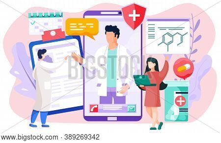 A Screen With Photo Of The Talking Doctor And Proposal To Call Or Write Sms. The Therapist Stands Ne