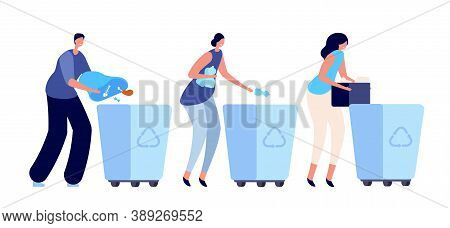 Person Sorting Garbage. Recycling Dustbin, Container For Waste. Young People Lifestyle, Ecology Acti