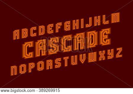 Cascade Alphabet Of Letters With Orange Neon Glow. Luminous Oblique Font. Isolated English Alphabet.
