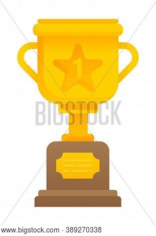 Golden Cup Award Isolated Prize For First Place In Flat Style. Vector Illustration Gold Winners Trop