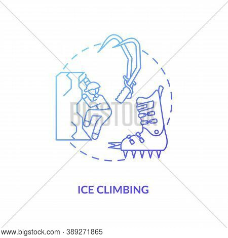 Ice Climbing Concept Icon. Winter Outdoor Activity Idea Thin Line Illustration. Mountaineering Exped