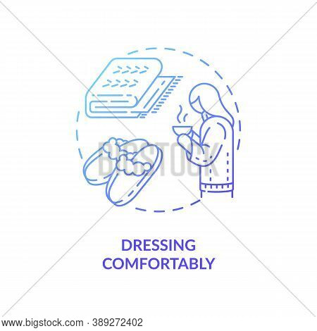 Dressing Comfortably Concept Icon. Hygge Fashion Idea Thin Line Illustration. Life Simplest Pleasure