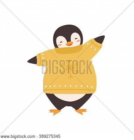 Cute Penguin In Warm Sweater With Snowflake Print Vector Flat Illustration. Funny Polar Bird Wearing