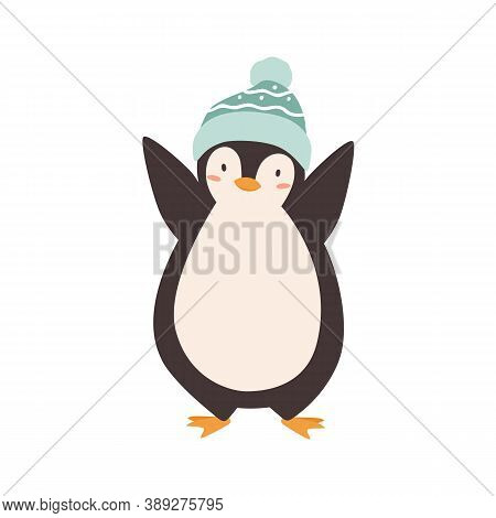 Baby Penguin Standing In Woolen Colorful Bobble Hat Vector Flat Illustration. Cute Polar Bird Wearin
