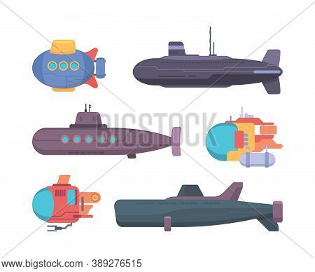 Submarines. Travel Diving Underwater Boat Explorer Propeller Ship Vector Collection. Illustration Un