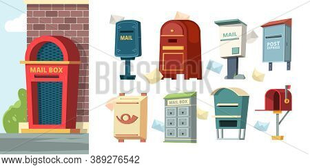 Postal Containers. Mailboxes With Letters Envelope Vector Pictures. Mailbox Post, Delivery Letter, P