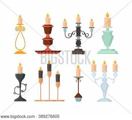 Candle Holder. Vintage And Modern Candelabrum Ancient Fire Lamp Candlestick Vector Set. Illustration