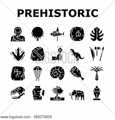 Prehistoric Period Collection Icons Set Vector. Prehistoric Plant And Tree, Mammoth And Clam, Dinosa