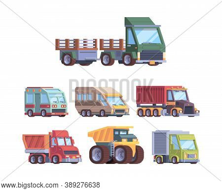 Trucks Collection. Heavy Industry And Cargo Service Vehicles Postal Delivery Trailer Transport For B