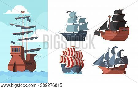 Pirate Ship. Marine Old Transport Ocean Damaged Wooden Boat Galleons Vector Pictures. Colection Sail