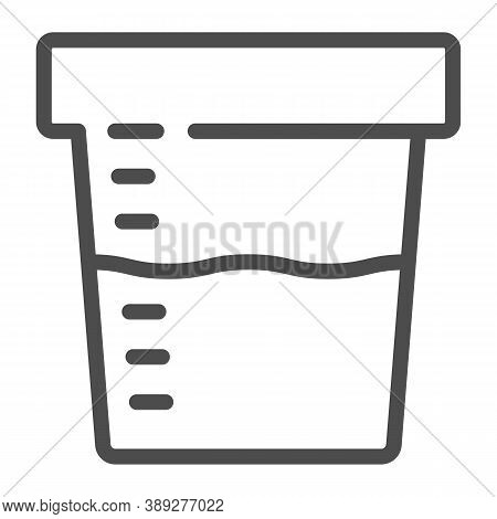 Urine Sample For Analysis Line Icon, Medical Tests Concept, Sampling Container Sign On White Backgro