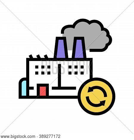 Garbege Recycling Factory Color Icon Vector. Garbege Recycling Factory Sign. Isolated Symbol Illustr
