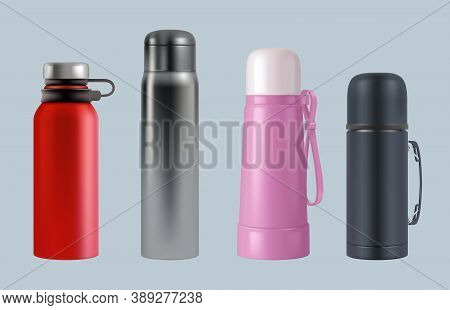Thermos Realistic. Steel Vacuum Flask Coffee Mug Round Containers For Water And Liquids Vector Templ