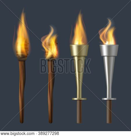 Fire Torch. Realistic Flame Torches Olympic Bonfire Vector Illustrations. Fire Burn Flame Torch, Fla
