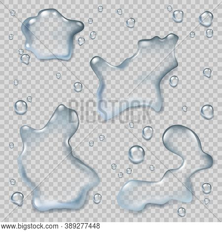 Puddles Top View. Liquid Environment Water Splash Wet Puddles Realistic Vector Templates. Water Drop