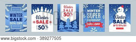 Discount Banners. Winter Best Price Flyers, Xmas Sale Cards With Snowman And Snowflakes Vector Illus