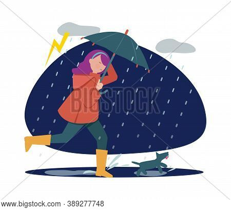Rainy Walking With Dog. Girl With Umbrella In Storm Weather, Autumn Season. Pet Holder Walk Time Vec