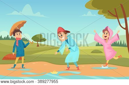 Kids In Puddles. Seasonal Background With Happy Peoples In Raincoats And Umbrellas Raining Environme