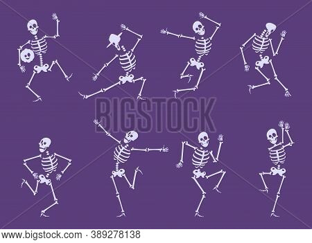 Skeleton Dancing. Party Funny Characters Dancers Poses On Halloween Party Skull Bones Vector Set. Il