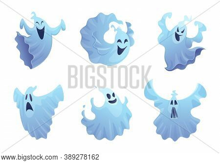 Cartoon Ghost. Friend Smile Spooky Buster Halloween Symbols Vector Scary Collection. Smile Halloween
