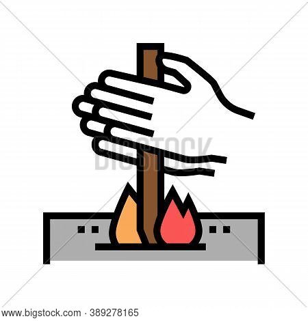 Making Fire By Friction Color Icon Vector. Making Fire By Friction Sign. Isolated Symbol Illustratio