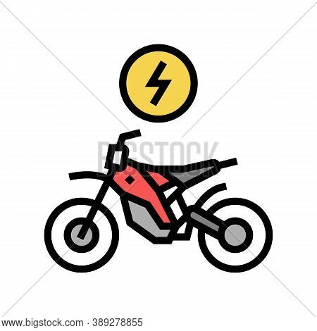 Electrical Bike Color Icon Vector. Electrical Bike Sign. Isolated Symbol Illustration