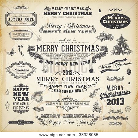 Christmas decoration collection Set of calligraphic and typographic elements, frames, vintage labels. Ribbons, christmas tree with balls, Mistletoe, Holly, Candy Cane and fir cone. All for Xmas design