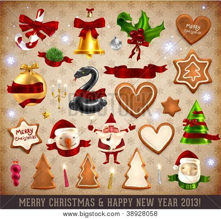 Christmas Icons and objects Set: Santa Claus, Snowman, Candy Cane, Gingerbread cookies, Snake, Mistletoe and Holly, Bell with bows, ribbons, candles and Xmas balls. Vector illustrations collection.