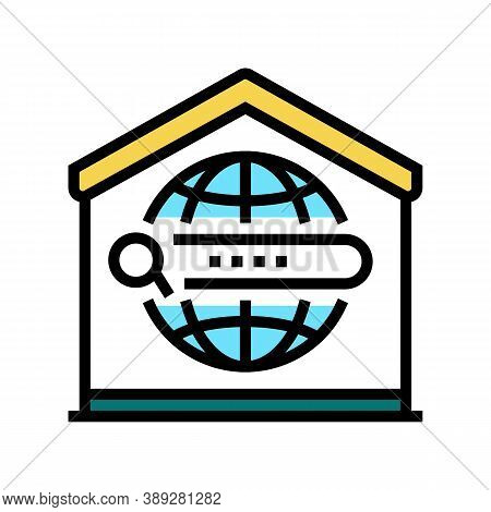 Search Web Site At Home Color Icon Vector. Search Web Site At Home Sign. Isolated Symbol Illustratio