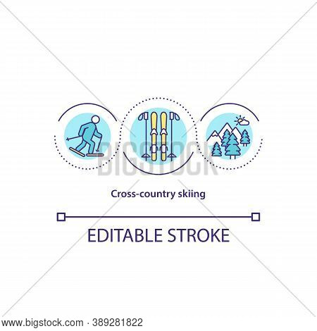 Cross Country Skiing Concept Icon. Active Leisure. Nordic Skiing. Winter Mountain Sport Idea Thin Li