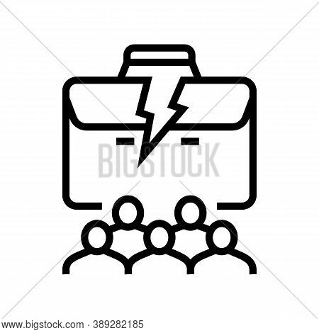 People Lost Job Line Icon Vector. People Lost Job Sign. Isolated Contour Symbol Black Illustration