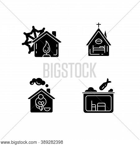 Temporary Supportive Housing Black Glyph Icons Set On White Space. Warming Center. Religious Shelter