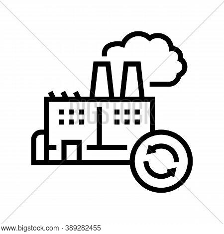 Garbege Recycling Factory Line Icon Vector. Garbege Recycling Factory Sign. Isolated Contour Symbol